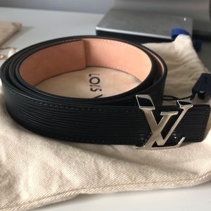 Louis Vuitton Black Epi Initials 30MM Belt